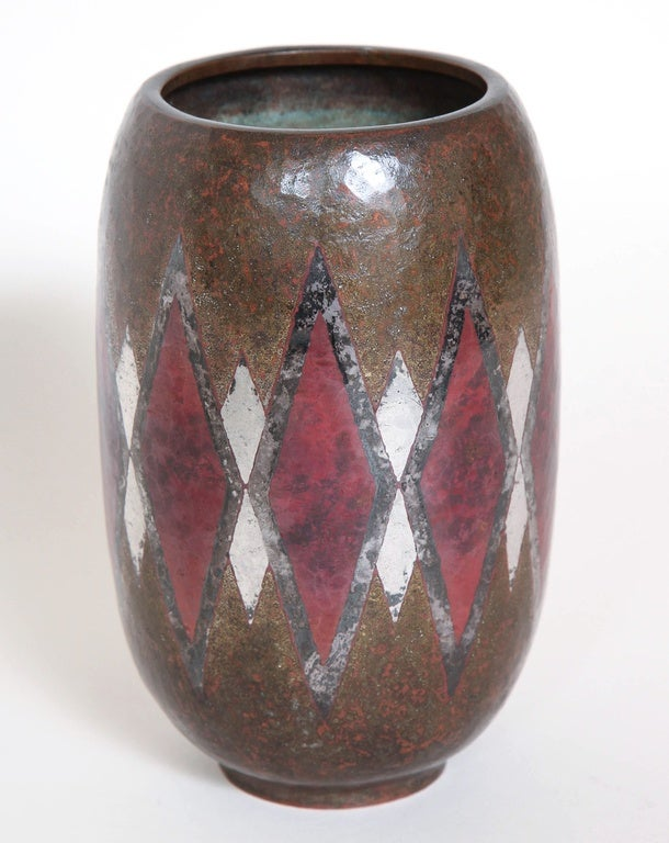 Copper Claudius Linossier French Art Deco Dinanderie Vase For Sale