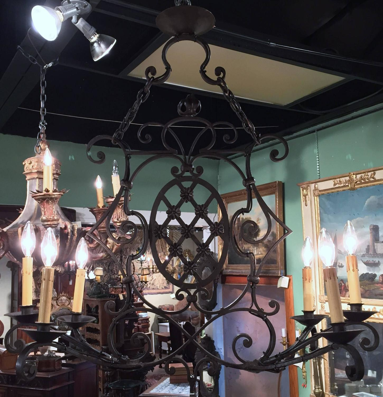 Antique French Six Light Iron Chandelier From Provence At 1stdibs
