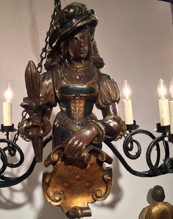 19th Century German Lusterweibchen Carved Walnut Polychrome Six-Light Chandelier For Sale 2
