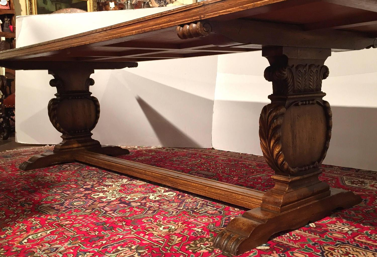 Antique French Dining Room Farm Table with Carved