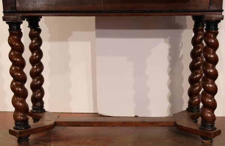 18th Century, Spanish, Carved Walnut Two-Piece Bargueno Cabinet and Base For Sale 2