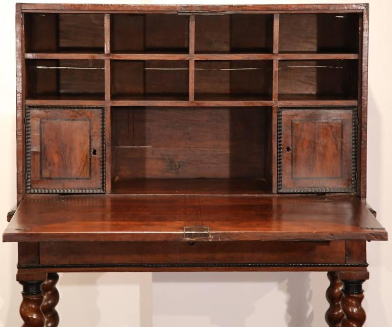 Louis XIII 18th Century, Spanish, Carved Walnut Two-Piece Bargueno Cabinet and Base For Sale