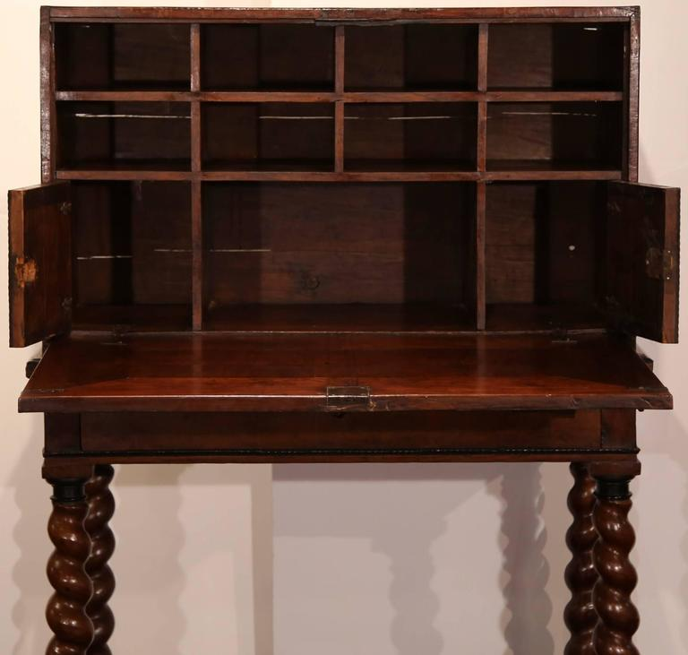 18th Century, Spanish, Carved Walnut Two-Piece Bargueno Cabinet and Base For Sale 1