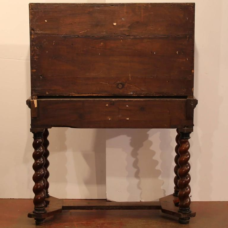 18th Century, Spanish, Carved Walnut Two-Piece Bargueno Cabinet and Base For Sale 3