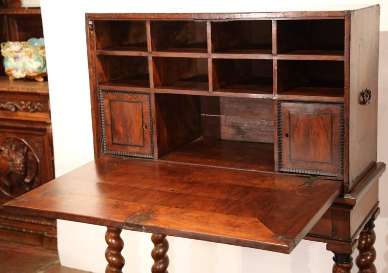 Patinated 18th Century, Spanish, Carved Walnut Two-Piece Bargueno Cabinet and Base For Sale