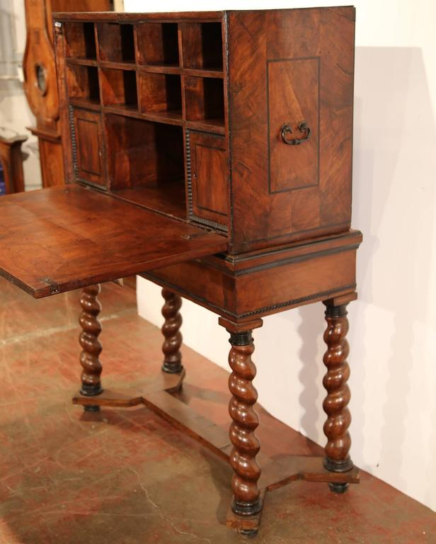 18th Century, Spanish, Carved Walnut Two-Piece Bargueno Cabinet and Base In Excellent Condition For Sale In Dallas, TX