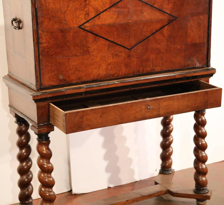 Iron 18th Century, Spanish, Carved Walnut Two-Piece Bargueno Cabinet and Base For Sale