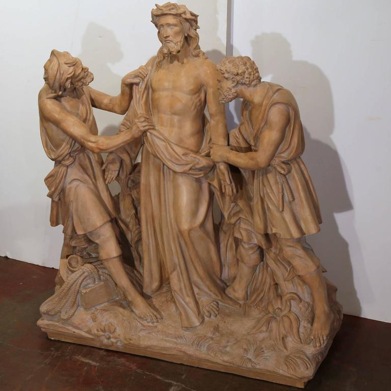 Large 19th Century French Terracotta Sculpture Composition before Crucifixion For Sale 2
