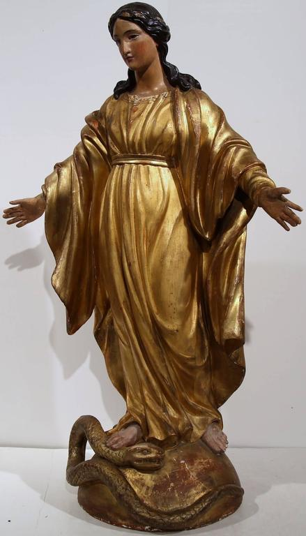 19th Century French Carved And Gilded Virgin Mary Statue