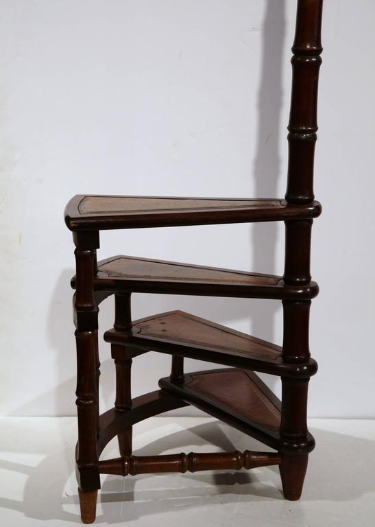 Terrific Vintage English Library Step Ladder With Leather Stairs At Gmtry Best Dining Table And Chair Ideas Images Gmtryco