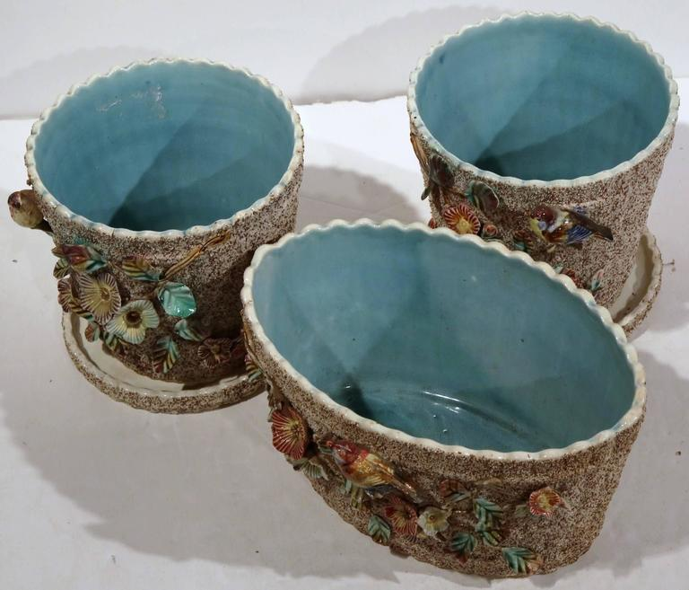 20th century three piece french barbotine cache pots set with birds and flowers at 1stdibs. Black Bedroom Furniture Sets. Home Design Ideas