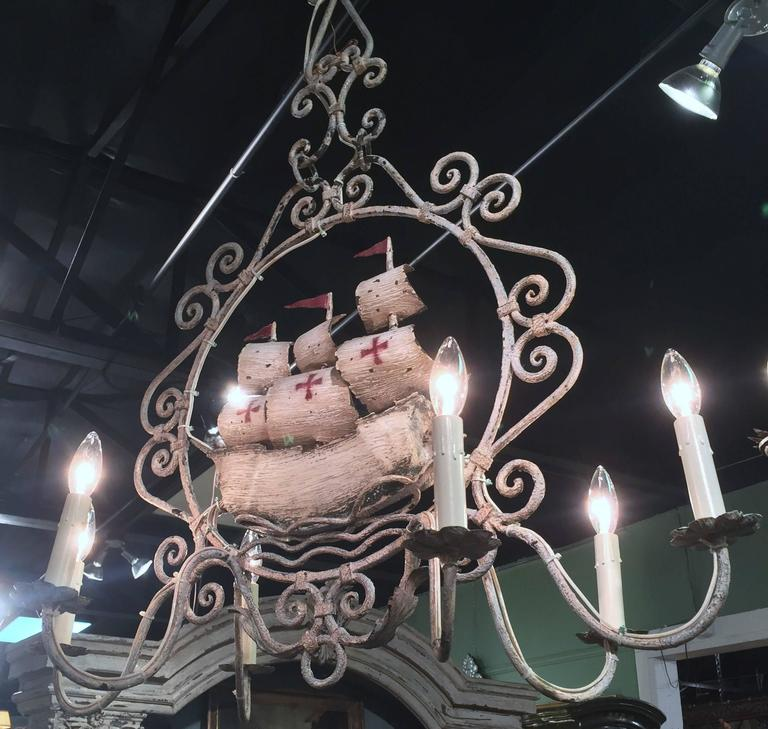 20th Century Midcentury, French Painted Iron Six-Light Sailboat Chandelier For Sale