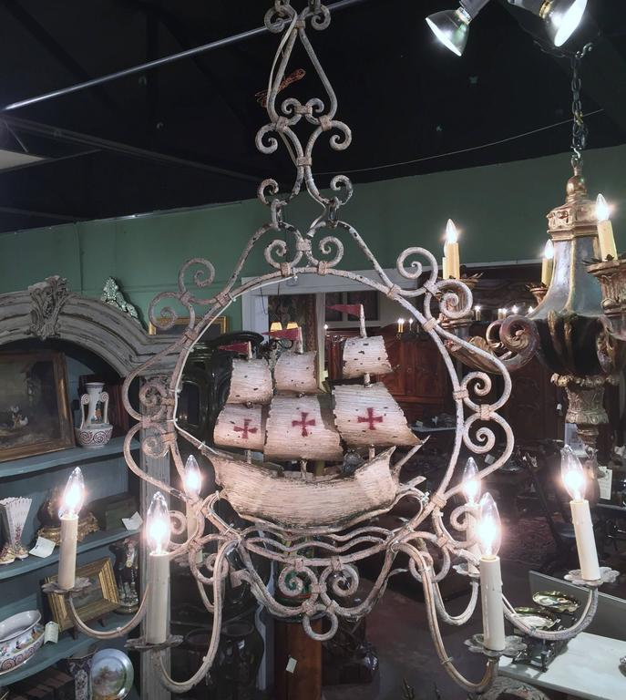 Midcentury, French Painted Iron Six-Light Sailboat Chandelier In Excellent Condition For Sale In Dallas, TX
