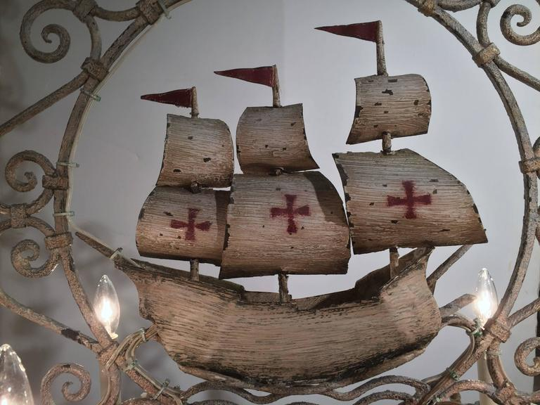 Forged Midcentury, French Painted Iron Six-Light Sailboat Chandelier For Sale
