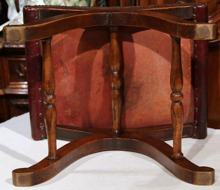 19th Century French Walnut Stool With Original Brown