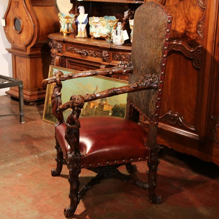 Patinated 18th Century Italian Carved Walnut Blackamoor Armchair with Embossed Leather For Sale