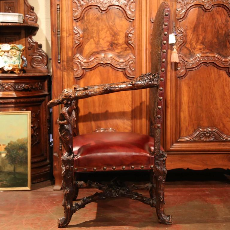 18th Century Italian Carved Walnut Blackamoor Armchair with Embossed Leather For Sale 1