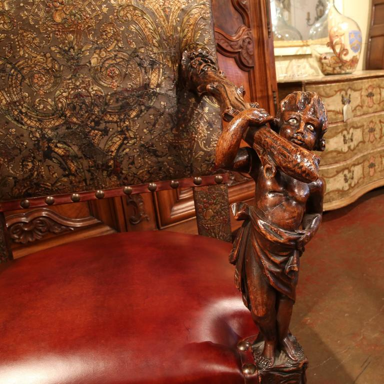 18th Century Italian Carved Walnut Blackamoor Armchair with Embossed Leather For Sale 2