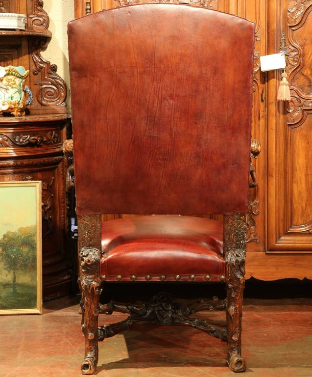 18th Century Italian Carved Walnut Blackamoor Armchair with Embossed Leather For Sale 4