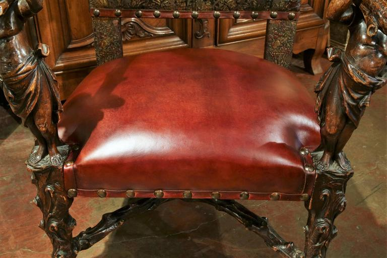 Baroque 18th Century Italian Carved Walnut Blackamoor Armchair with Embossed Leather For Sale