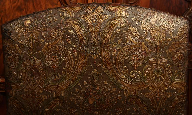 18th Century Italian Carved Walnut Blackamoor Armchair with Embossed Leather For Sale 3