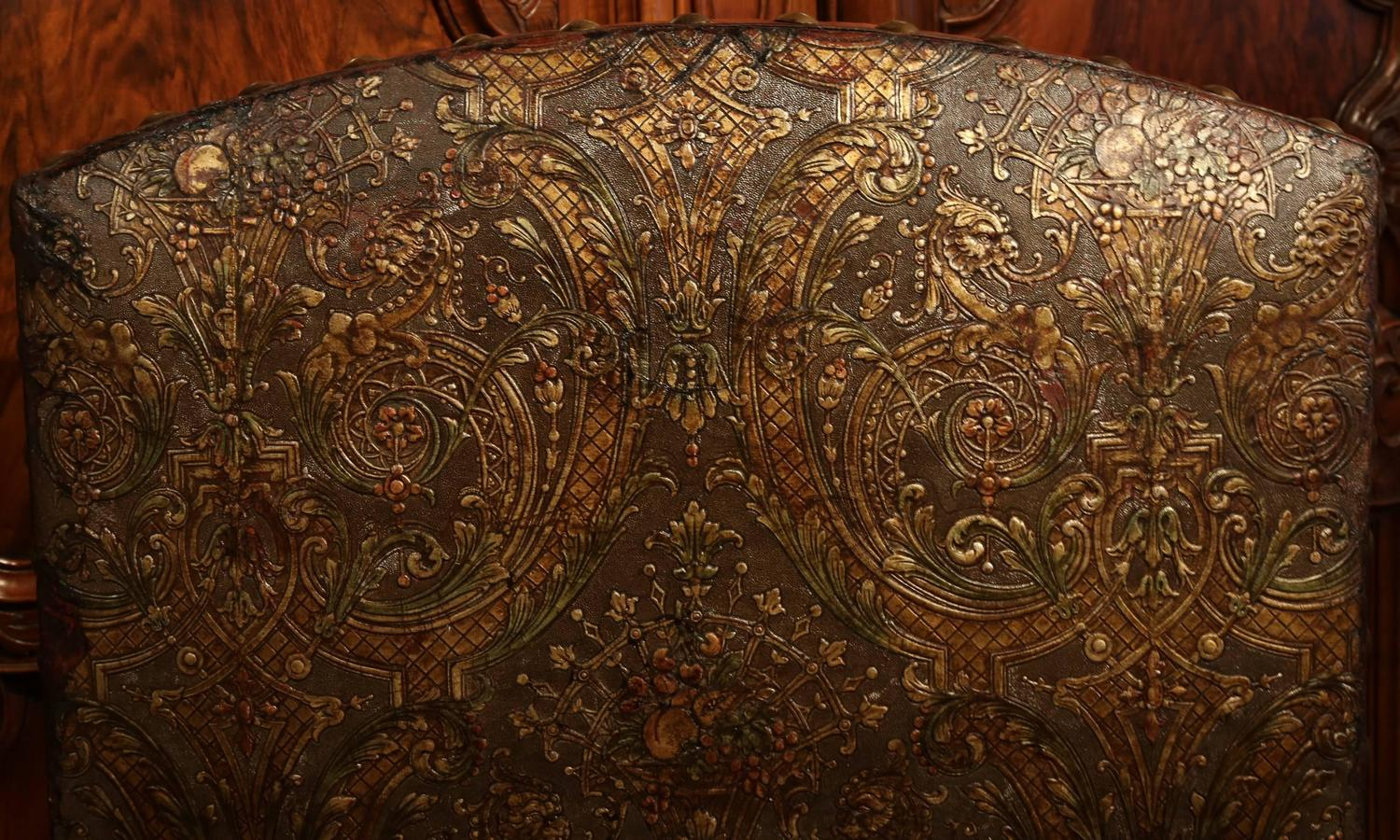 Large th century italian carved walnut armchair with