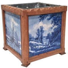 19th Century French Jardiniere with Four Blue and White Delft Tiles Scenes