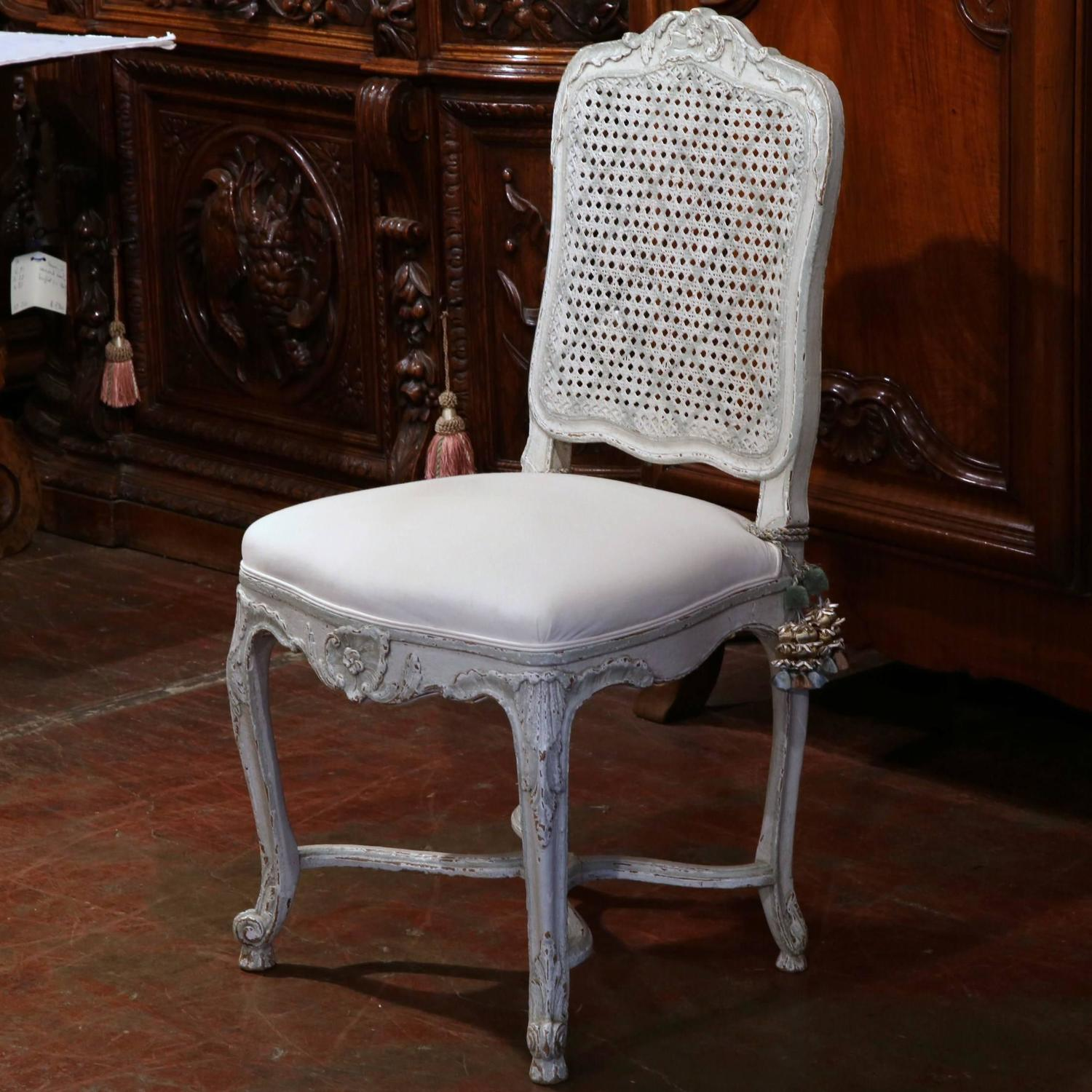 Pair Of 19th Century French Louis Xv Gray Painted Side Chairs With Cane Back For Sale At 1stdibs