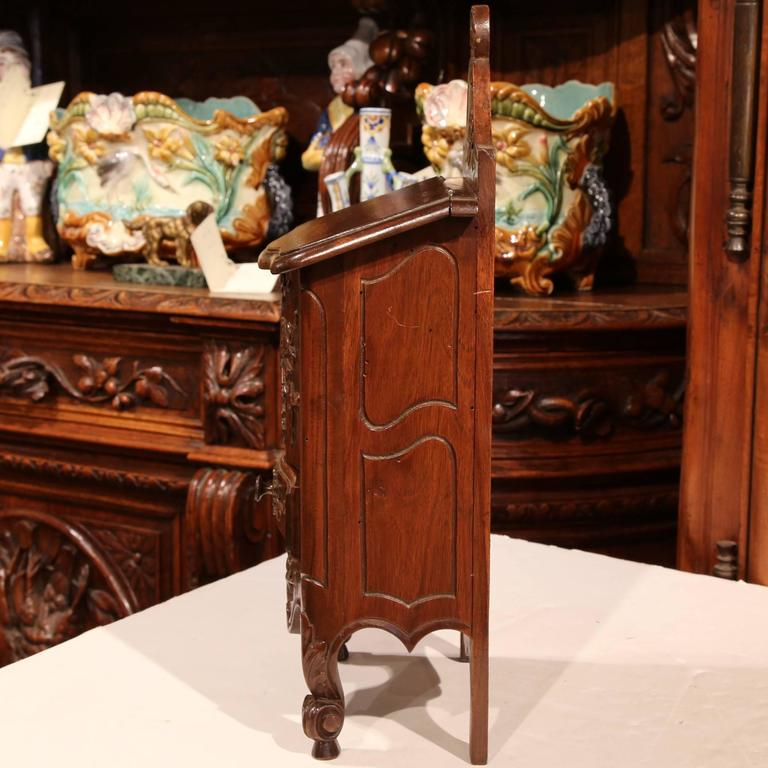 Early 20th Century French Carved Walnut Salt Box From