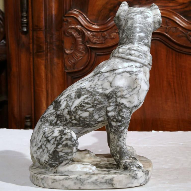 19th Century French Gray and White Carved Marble Dog Sculpture For Sale 3