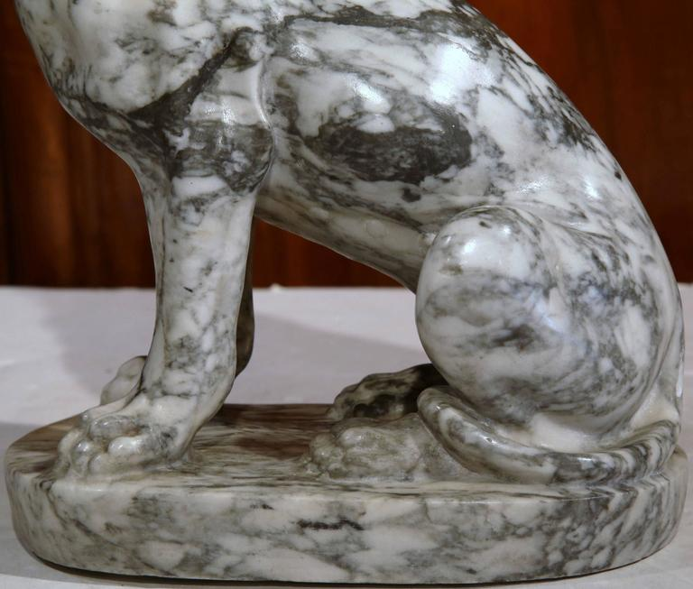 19th Century French Gray and White Carved Marble Dog Sculpture For Sale 5