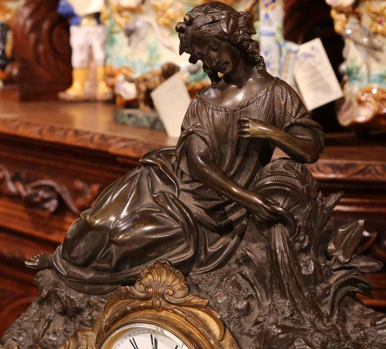 19th Century French Bronze And Marble Mantel Clock With
