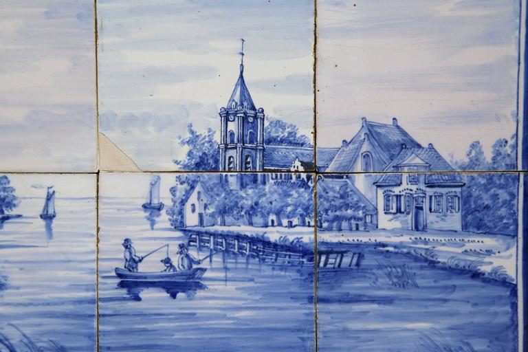 Hand-Crafted Pair of 19th Century French Blue and White Framed Delft Tiles with Harbor Scenes For Sale