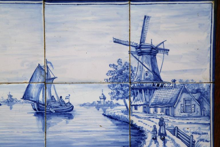 Pair of 19th Century French Blue and White Framed Delft Tiles with Harbor Scenes For Sale 1