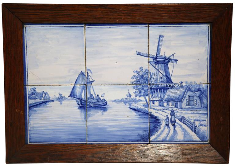 Ceramic Pair of 19th Century French Blue and White Framed Delft Tiles with Harbor Scenes For Sale