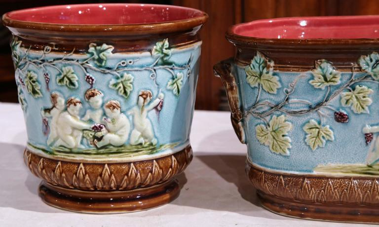 19th century french hand painted barbotine jardiniere and cache pots for sale at 1stdibs. Black Bedroom Furniture Sets. Home Design Ideas