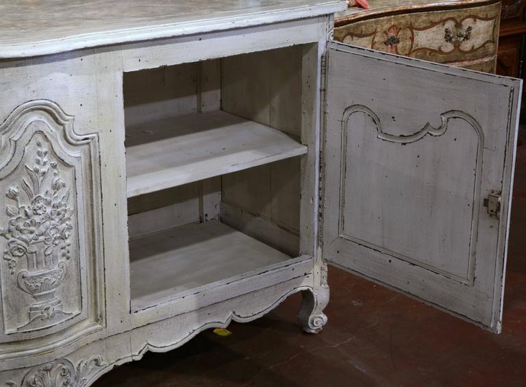 18th Century French Louis Xv Carved Painted Two Door