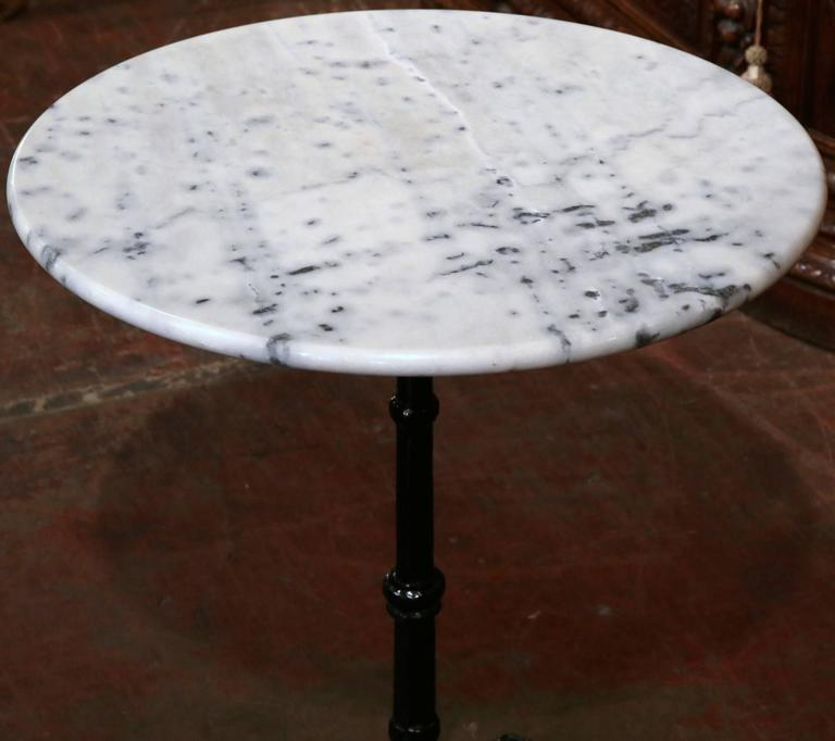 Early 20th Century Iron Pedestal Bistro Table From Paris With Round Marble  Top 2