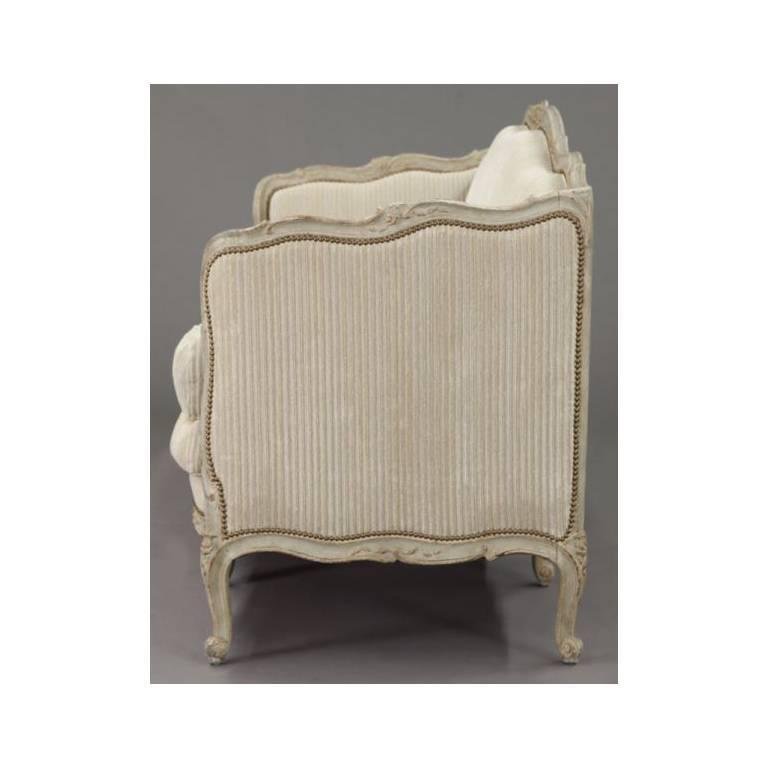19th Century French Louis XV Carved Canape with Painted Finish and Beige Fabric For Sale 2
