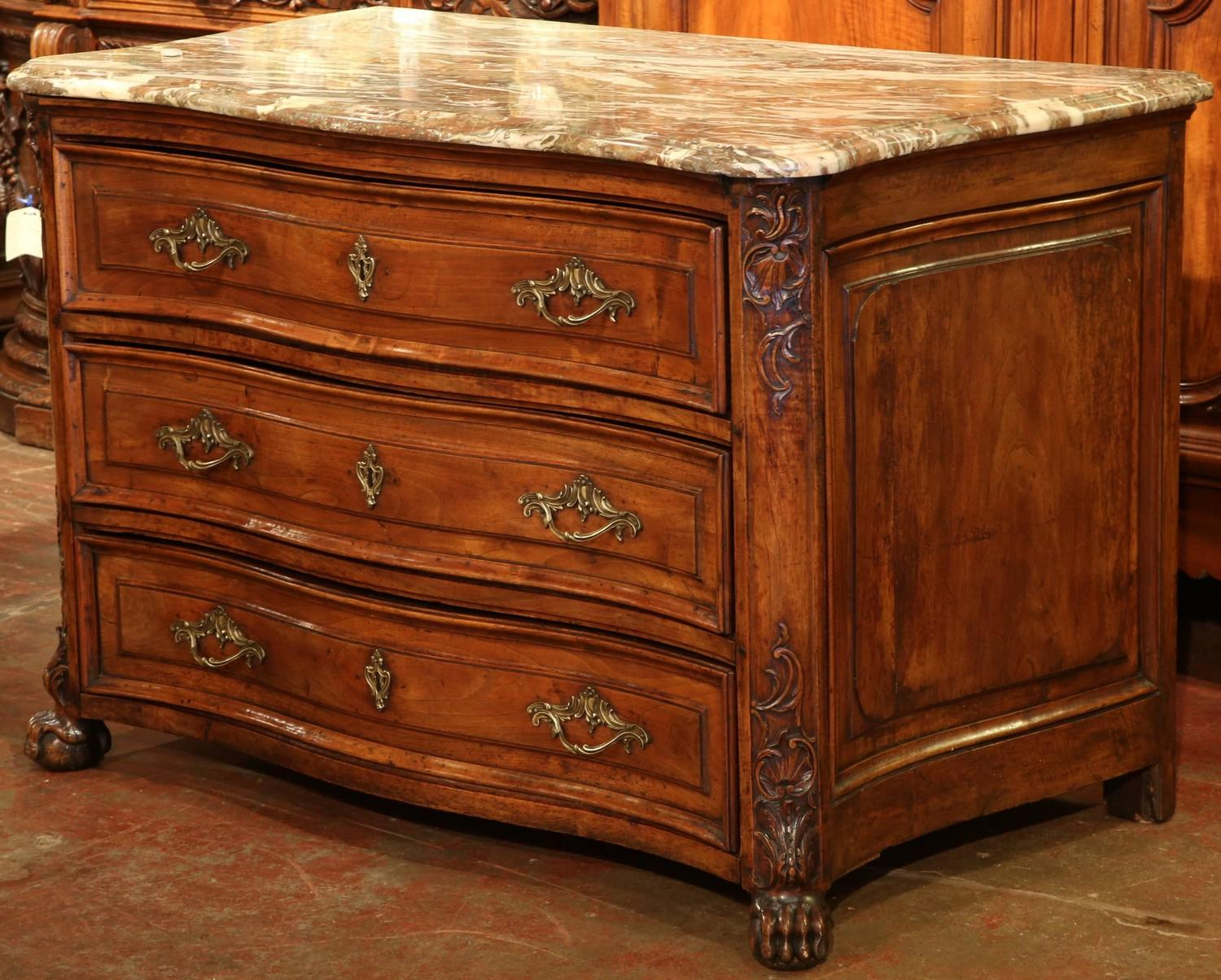 18th century french louis xiv walnut commode from burgundy with marble top for sale at 1stdibs. Black Bedroom Furniture Sets. Home Design Ideas