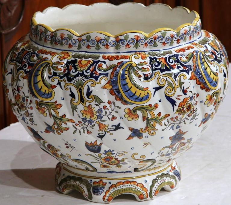 Large Early 20th Century French Hand Painted Cache Pot