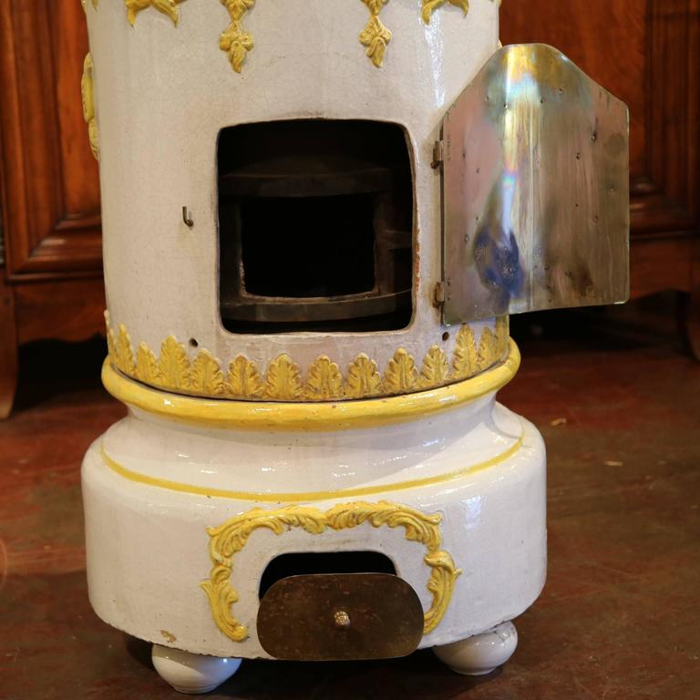 19th Century French White And Yellow Terracotta Br Wood Burning Stove For 3