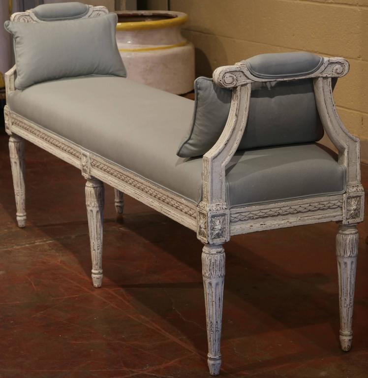 19th century antique french louis xvi carved painted banquette bench at 1stdibs. Black Bedroom Furniture Sets. Home Design Ideas