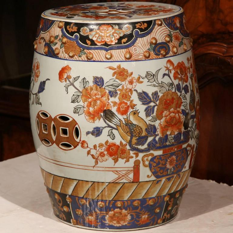 19th Century Japanese Hand Painted Porcelain Imari Stool