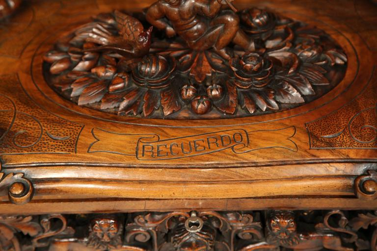 19th Century Spanish Carved Walnut Memory Box With Lions