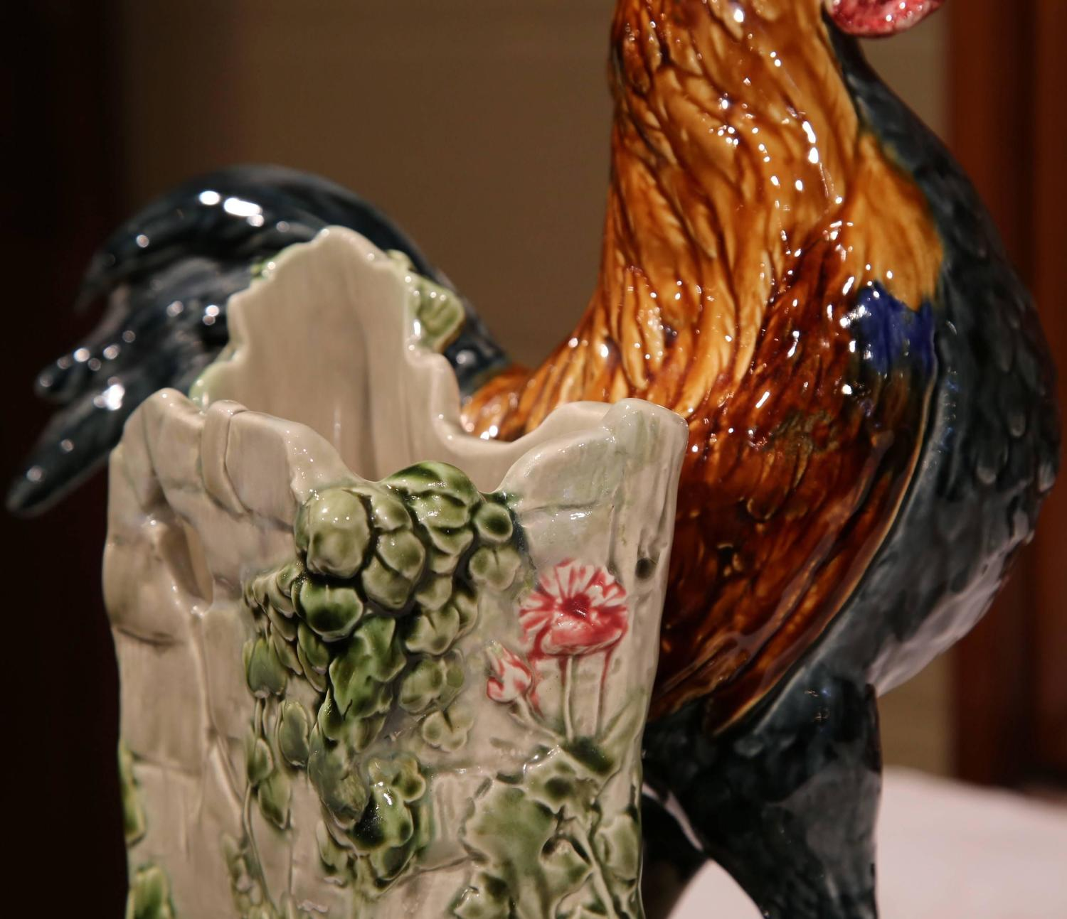 19th Century French Hand Painted Faience Rooster Vase Signed Carrier Belleuse