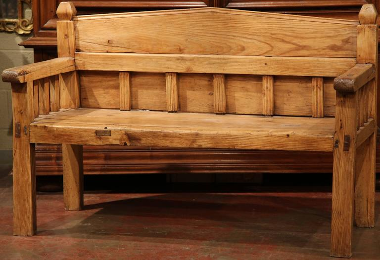 Rustic 19th Century French Carved Pine Bench With Back From The Pyrenees For
