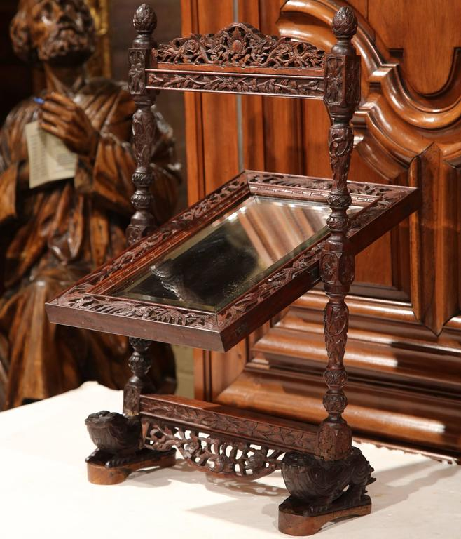 Hand-Carved 19th Century French Black Forest Carved Oak Freestanding Vanity Table Mirror For Sale
