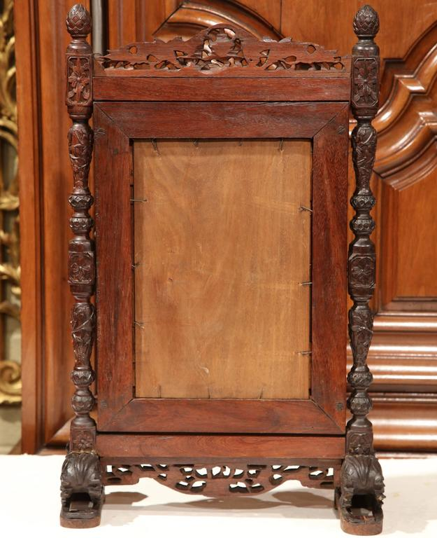19th Century French Black Forest Carved Oak Freestanding Vanity Table Mirror For Sale 2