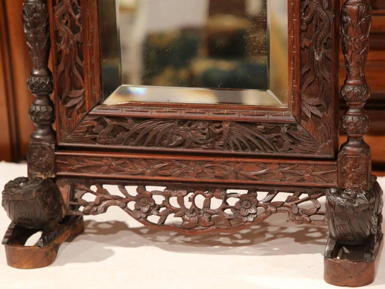 Mercury Glass 19th Century French Black Forest Carved Oak Freestanding Vanity Table Mirror For Sale